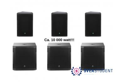 Extra stor ljudanläggning. 3 x högtalare + 3 x sub.